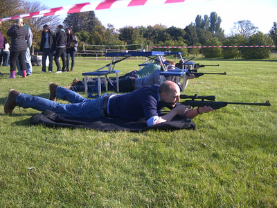 air rifle shooter prone position