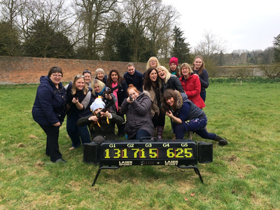 Laser clays team building activity in Tiverton